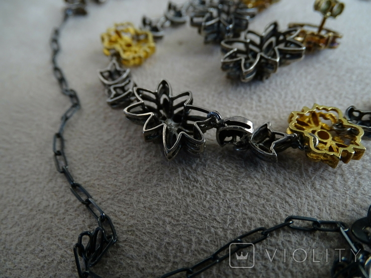 Старенький гарнитур колье, браслет, серьги. Серебро, позолота, камни., фото №9