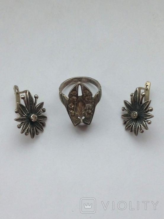 Серьги и Кольцо перстень Серебро -925 проба Вес -12 грамм, фото №3