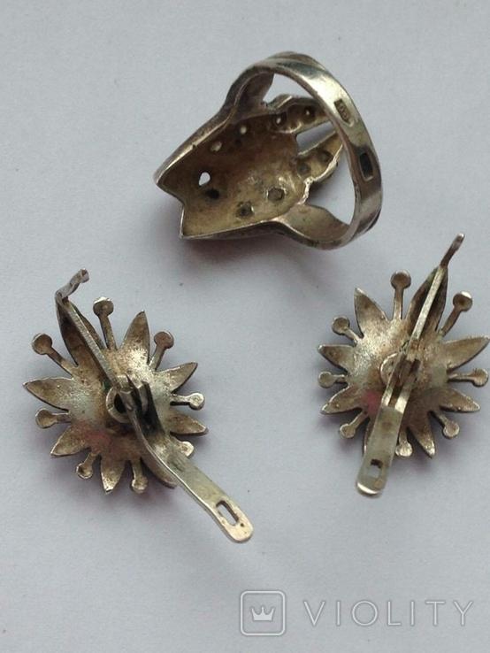 Серьги и Кольцо перстень Серебро -925 проба Вес -12 грамм, фото №4