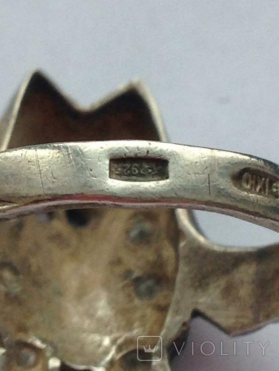 Серьги и Кольцо перстень Серебро -925 проба Вес -12 грамм, фото №7