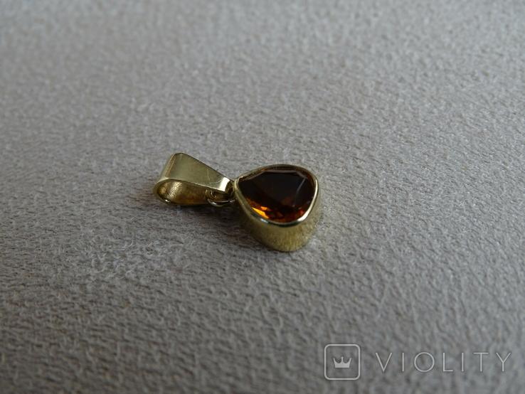 """Винтажная золотая подвеска """"Капля меда""""., фото №5"""