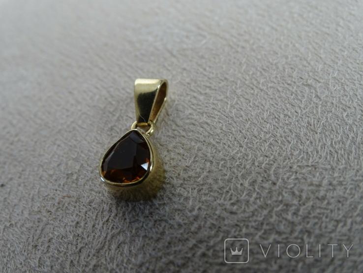 """Винтажная золотая подвеска """"Капля меда""""., фото №9"""