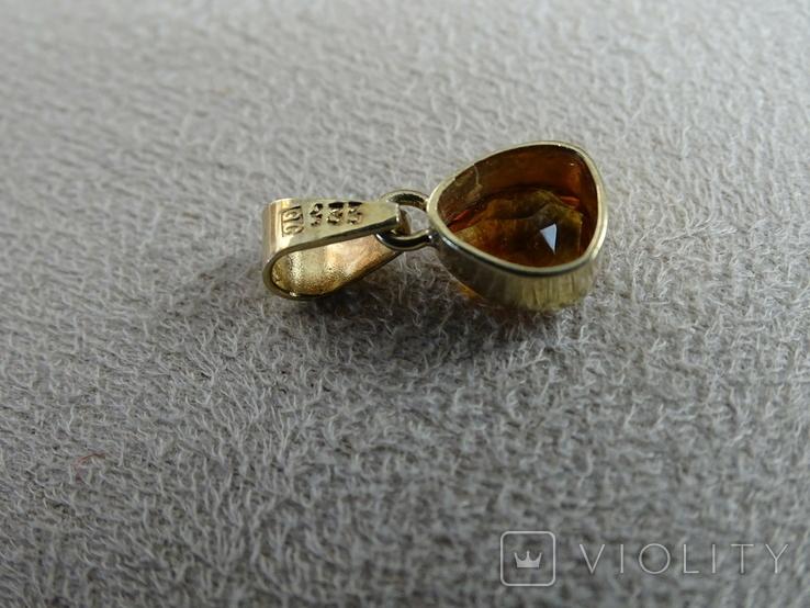 """Винтажная золотая подвеска """"Капля меда""""., фото №10"""