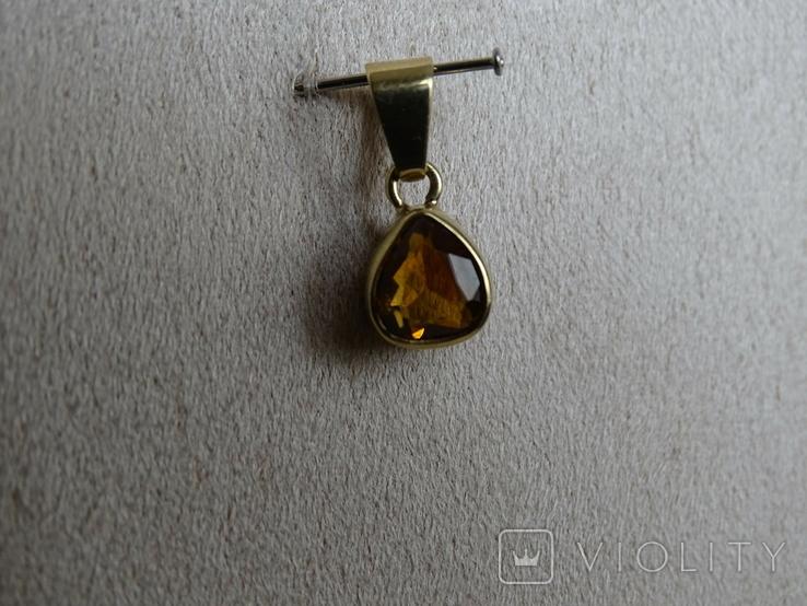 """Винтажная золотая подвеска """"Капля меда""""., фото №11"""