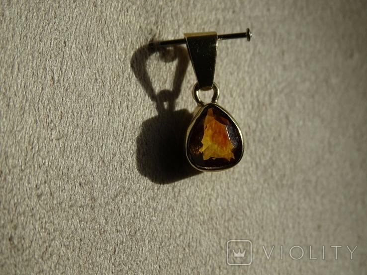 """Винтажная золотая подвеска """"Капля меда""""., фото №12"""