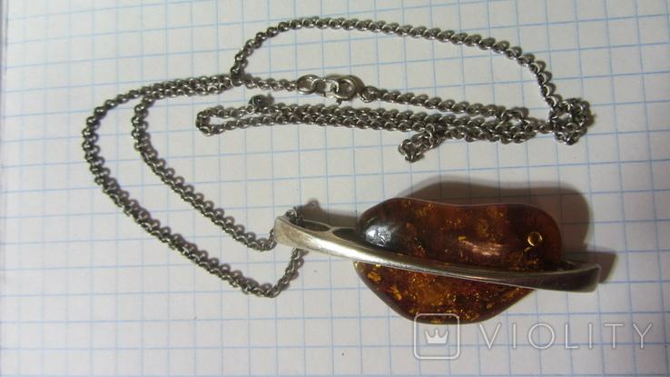 Кулон. Серебро, янтарь., фото №2