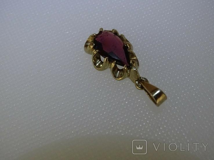 Винтажный кулон-подвеска. Золото, гранат., фото №4