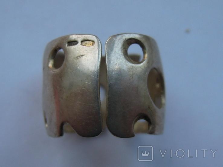 Крупные серьги и кольцо серебро 925 17,2 грм, фото №4