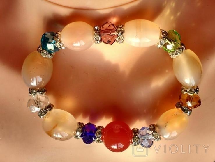 Браслет минералы и кристаллы 35.5 грм., фото №8