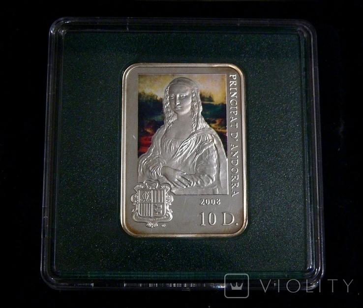 Художники Мира - Леонардо да Винчи - МОНА ЛИЗА - серебро. Футляр, сертификат, фото №2
