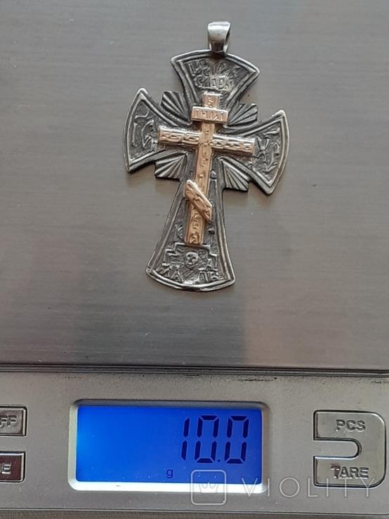 Серебряный крест с золотой накладкой., фото №5