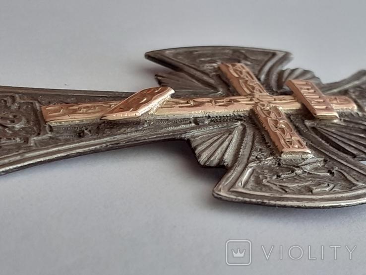 Серебряный крест с золотой накладкой., фото №6