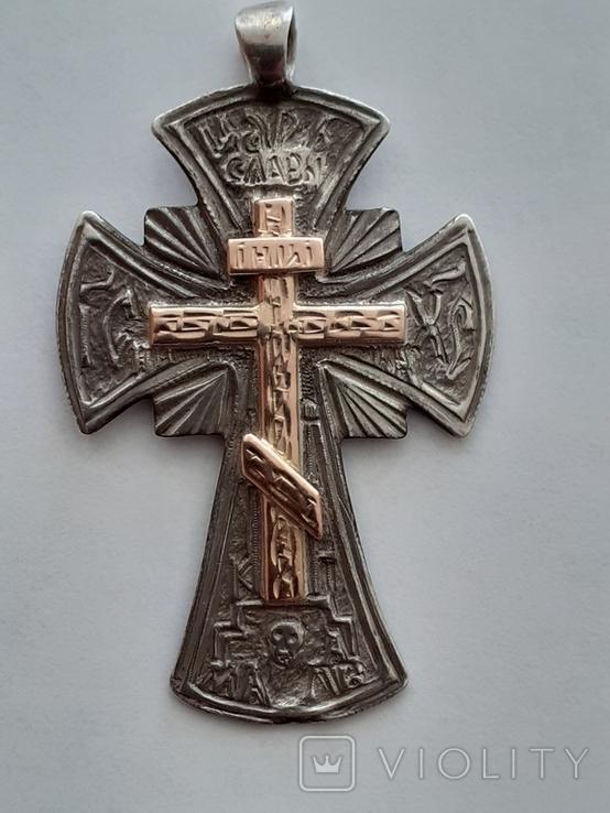 Серебряный крест с золотой накладкой., фото №11