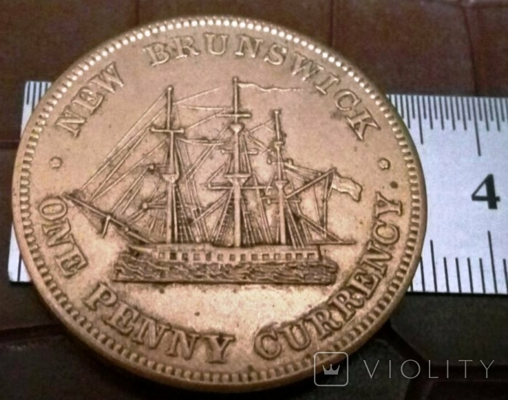 1 ПЕННІ 1854 року Нью Бресквік /репліка/ копія не магнітна, дзвенить, фото №3