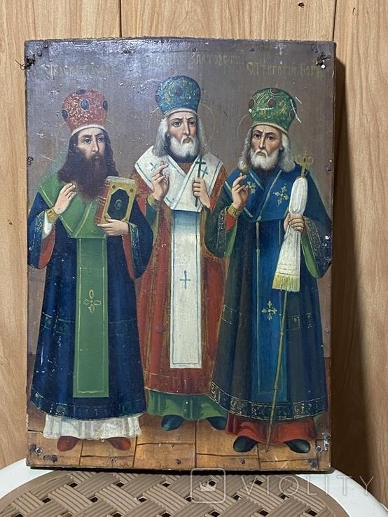 Икона Иоан Златоуст Василий Великий Григорий Богослов, фото №2