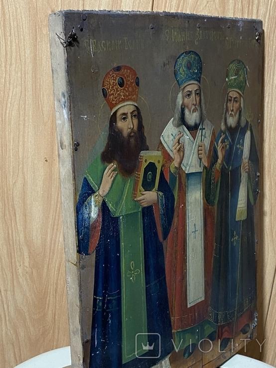 Икона Иоан Златоуст Василий Великий Григорий Богослов, фото №6