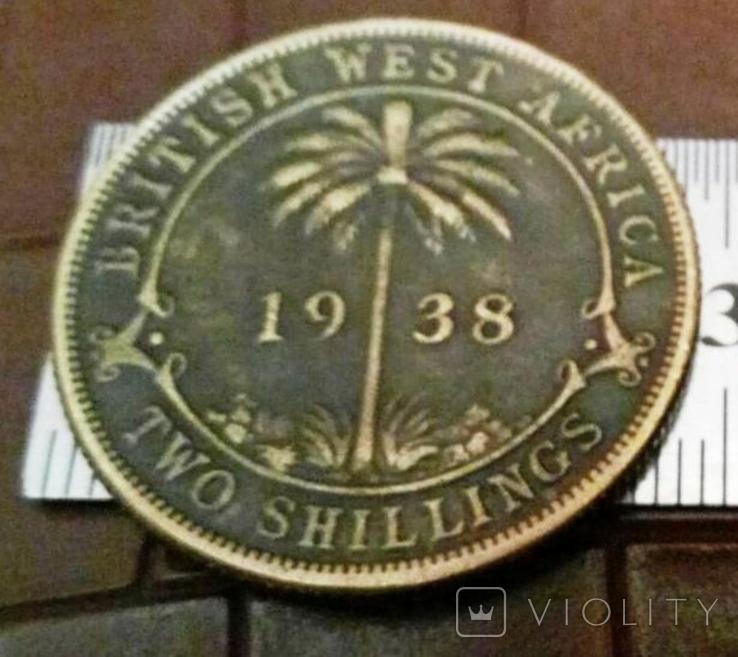 2 шиллінга 1938  року . Британська Західна Африка копія - не магнітна, бронза, фото №2