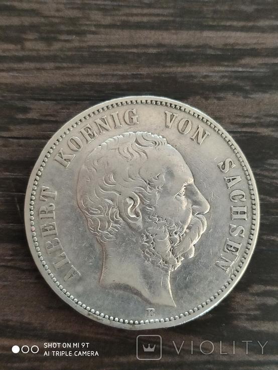 5 марок Саксония Альберт 1875 г., фото №2