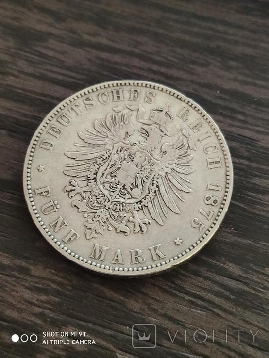 5 марок Саксония Альберт 1875 г., фото №5