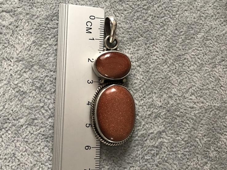 Серебряный кулон с авантюрином (серебро 925 пр, вес 14,1 гр), фото №3