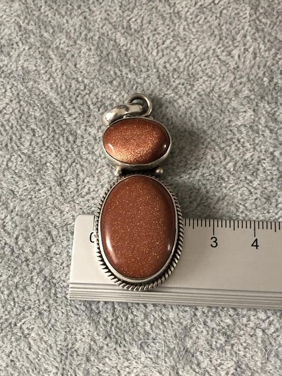 Серебряный кулон с авантюрином (серебро 925 пр, вес 14,1 гр), фото №4