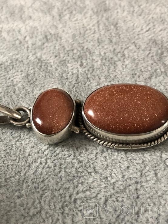 Серебряный кулон с авантюрином (серебро 925 пр, вес 14,1 гр), фото №6
