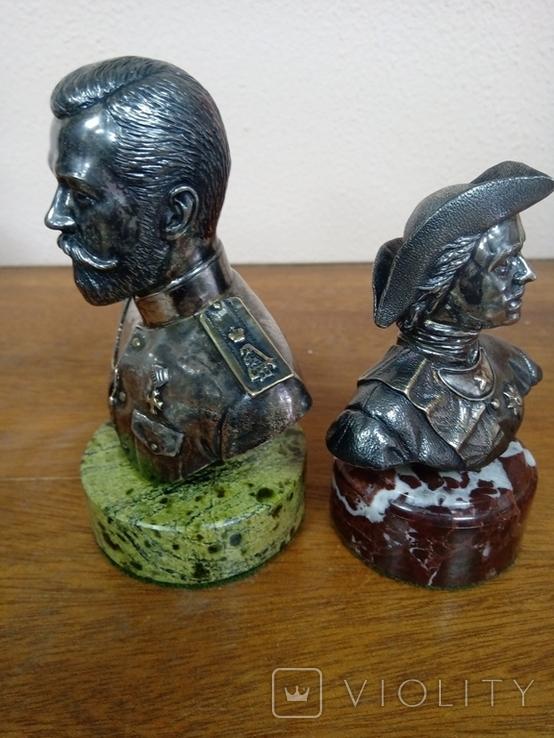 "Бюсты ""Николай ll, Пётр l"", (серебро), фото №3"