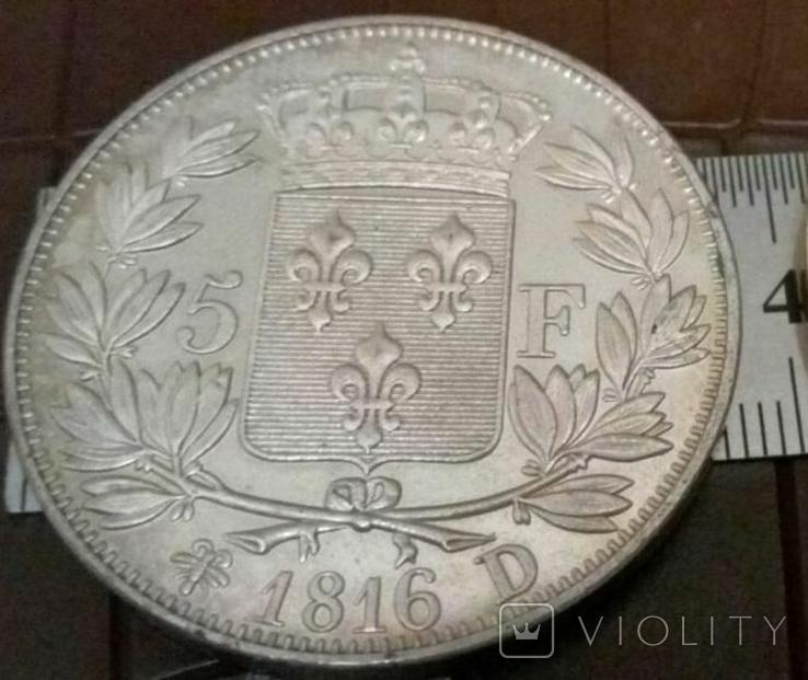 5 франків 1816 року D. ФРАНЦІЯ -імперія/точна копія срібної/ посрібнення 999, фото №2