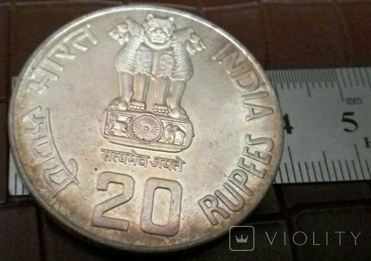 20 рупій 1986 року ІНДІЯ. Не магнітна, точна копія, посрібнення 999, фото №3