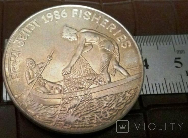20 рупій 1986 року ІНДІЯ. Не магнітна, точна копія, посрібнення 999, фото №2