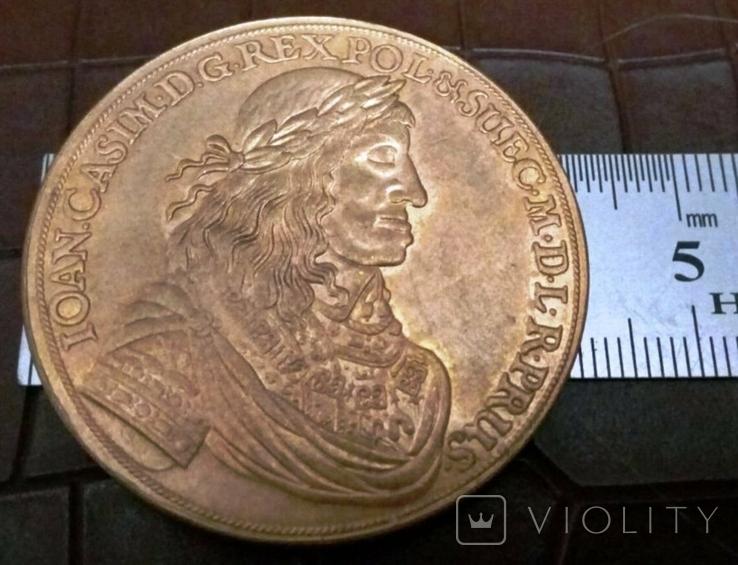 10 дукатів  золотом1665 року , Польща ,  копія золотої не магнітний, позолота 999, фото №3