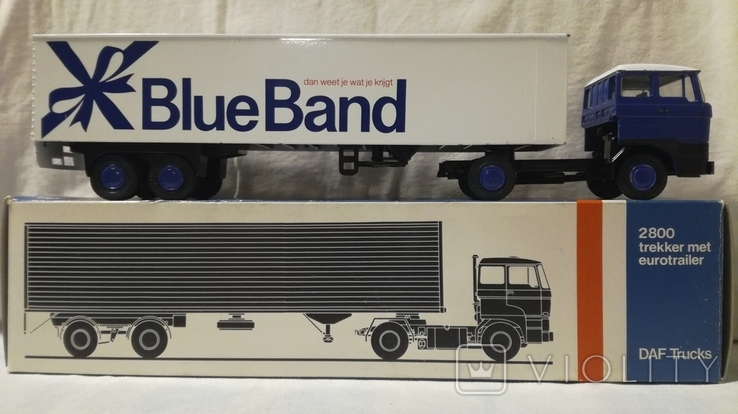 Тягач, Грузовик Lion Car 1/50 Scale No.36 - DAF Truck Trailer - Blue Band, Holland (2), фото №2