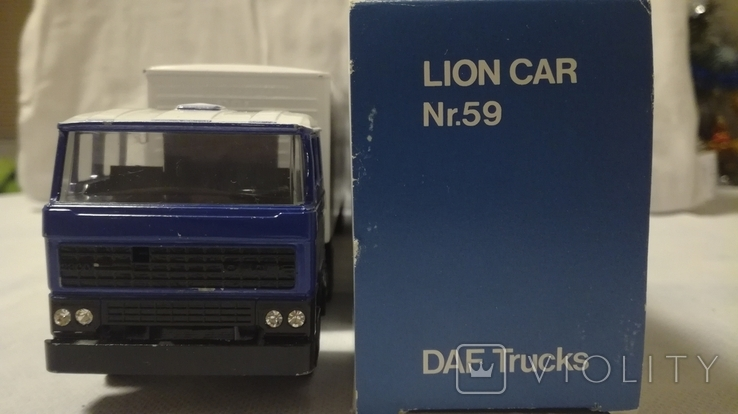 Тягач, Грузовик Lion Car 1/50 Scale No.36 - DAF Truck Trailer - Blue Band, Holland (2), фото №6