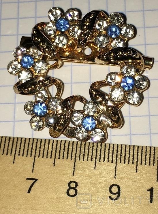 Дресс-клип, брошь, зажим для шарфа с булавкой (камушки синего цвета) / дрес кліп + бонус, фото №8