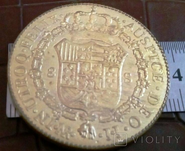 Монета Іспанії 1798 року- точна копія Золотої /позолота 999/ не магнітна, фото №3