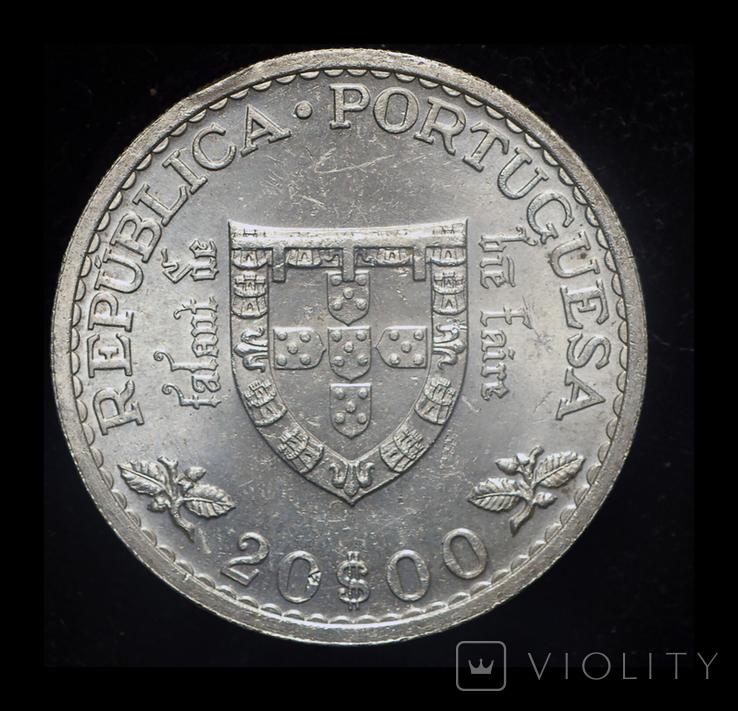 Португалия 20 эшкудо 1960 Unc серебро 21 грамм, фото №3
