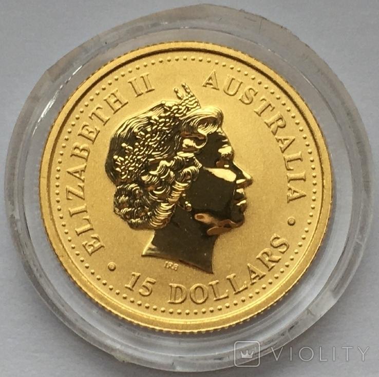 Австралія 15 доларів Рік Собаки 2006 рік Золото 3,11 грам 999,9' проби, фото №4