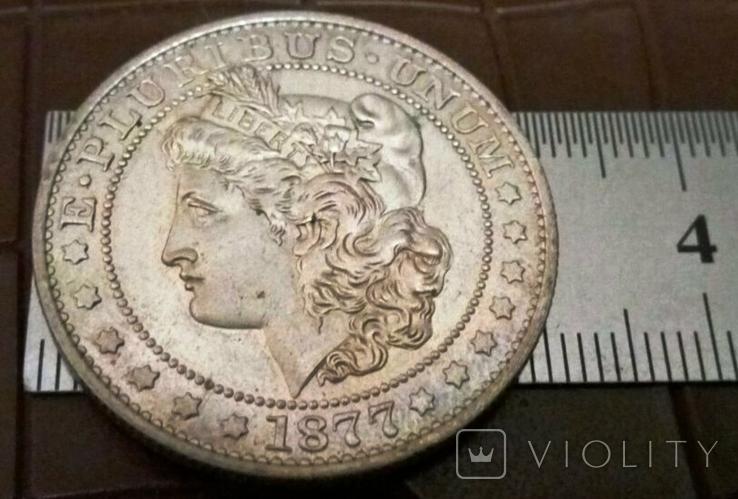 1/2 долара  1877 року США /репліка/ копія,посрібнення 999,, фото №4