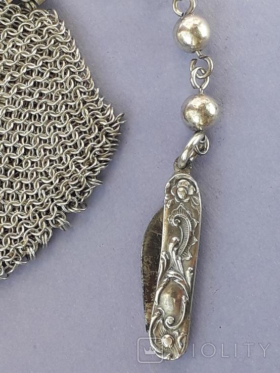 Кошелёк-кольчужка на 2 отделения и ножик, для шатлена, серебро, 67 гр., фото №3