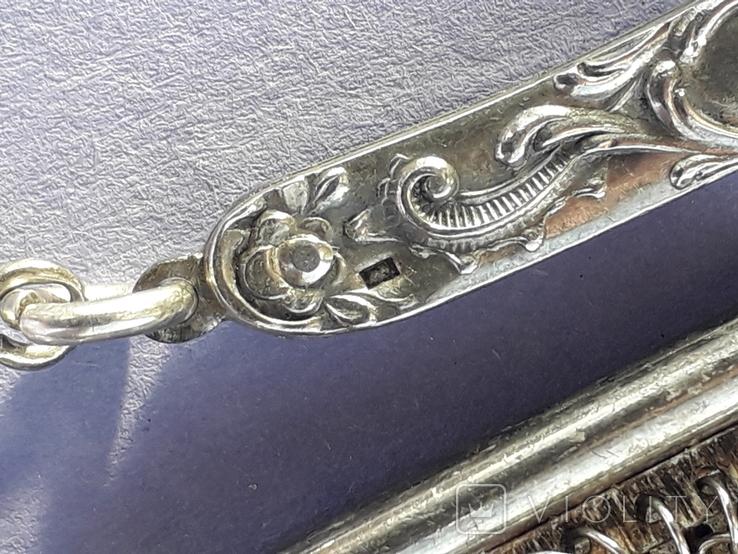 Кошелёк-кольчужка на 2 отделения и ножик, для шатлена, серебро, 67 гр., фото №5
