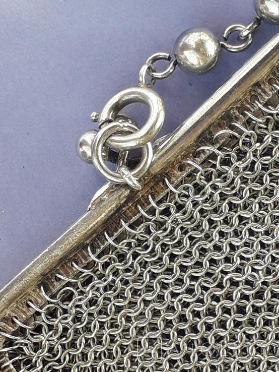 Кошелёк-кольчужка на 2 отделения и ножик, для шатлена, серебро, 67 гр., фото №6