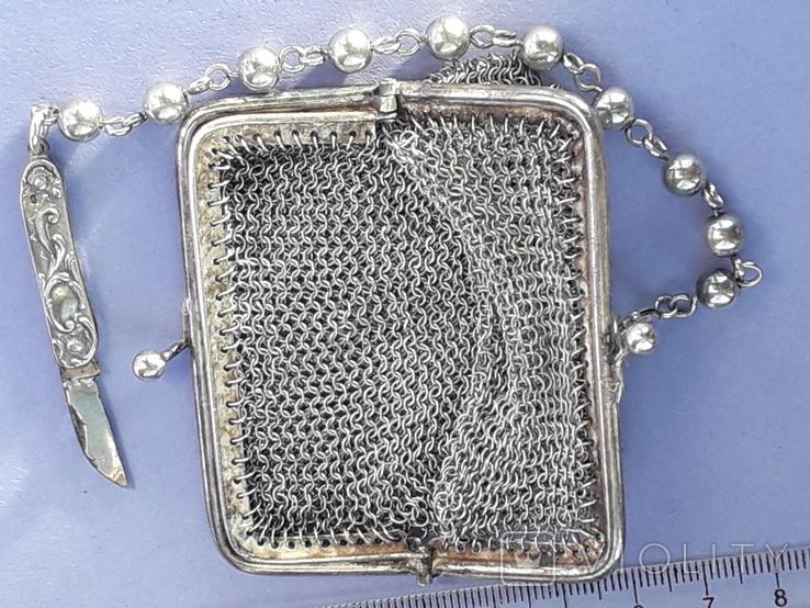 Кошелёк-кольчужка на 2 отделения и ножик, для шатлена, серебро, 67 гр., фото №8