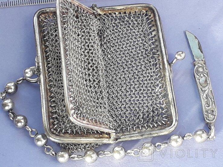 Кошелёк-кольчужка на 2 отделения и ножик, для шатлена, серебро, 67 гр., фото №9