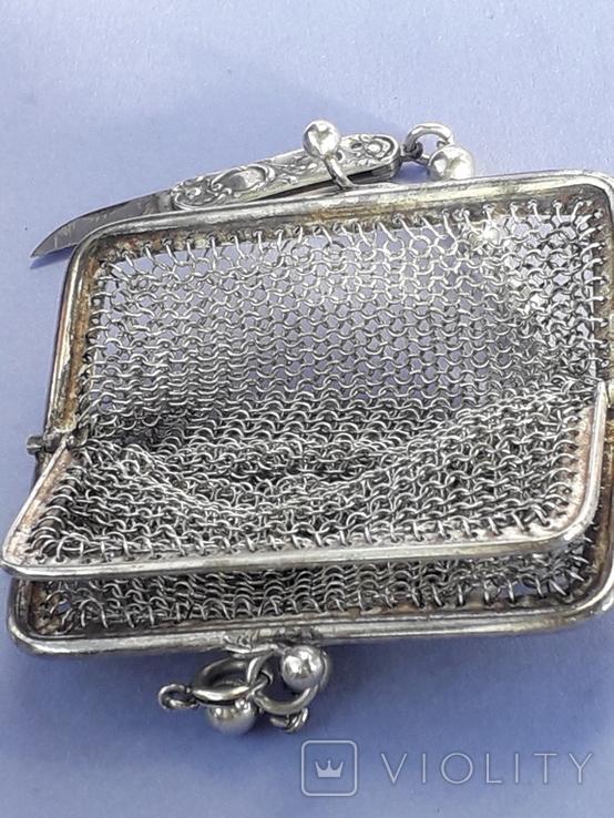 Кошелёк-кольчужка на 2 отделения и ножик, для шатлена, серебро, 67 гр., фото №10