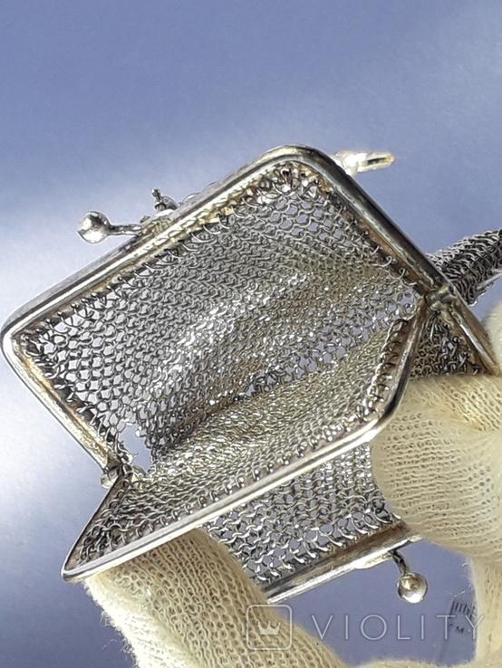 Кошелёк-кольчужка на 2 отделения и ножик, для шатлена, серебро, 67 гр., фото №11
