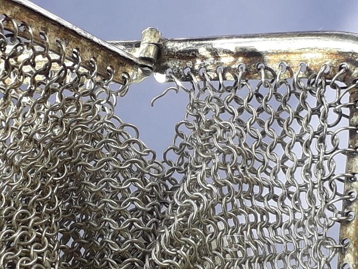 Кошелёк-кольчужка на 2 отделения и ножик, для шатлена, серебро, 67 гр., фото №12