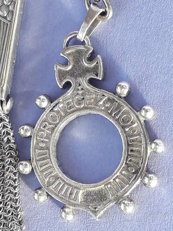 Кошелёк-кольчужка с религиозным медальоном к шатлену, серебро, 46 грамм, Франция, фото №3
