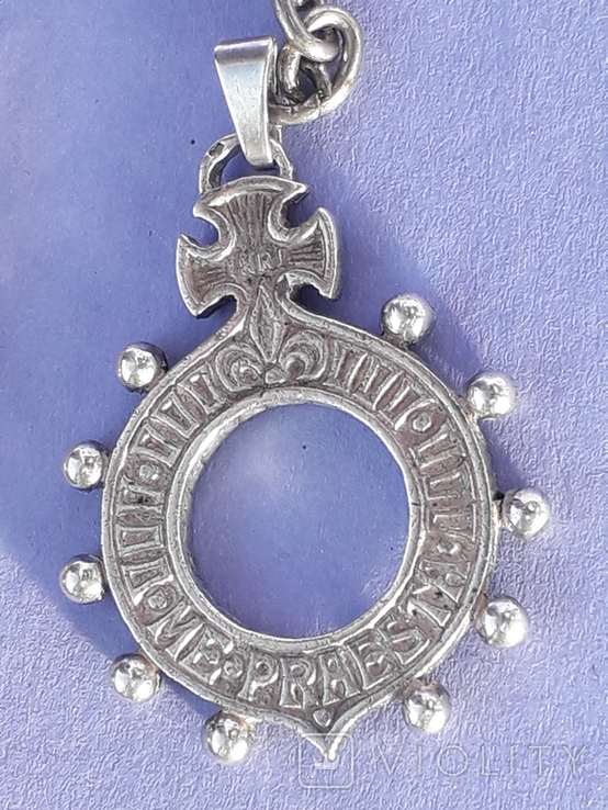 Кошелёк-кольчужка с религиозным медальоном к шатлену, серебро, 46 грамм, Франция, фото №4