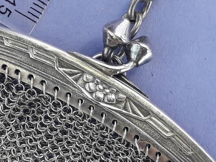Кошелёк-кольчужка с религиозным медальоном к шатлену, серебро, 46 грамм, Франция, фото №9