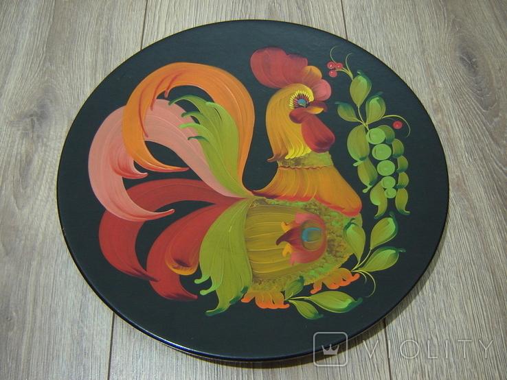 Большая настенная тарелка папье маше. Авторская роспись. Диаметр 30 см., фото №2
